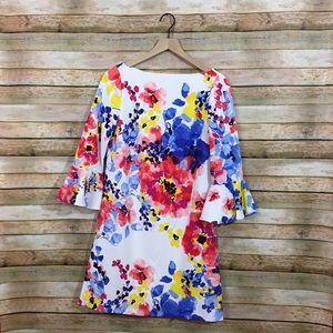 NWT Tahari ASL Floral Shift Dress with Bell Sleeve